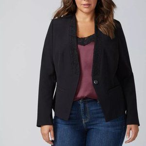 Lane Bryant Black Lace Trim Single Button Blazer